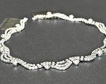 Sliver Bridal Headband, Wedding Headpiece, Rhinestone Wave Tiara , Hair Accessory, Prom Headband, Bridesmaid Headpiece -HP012