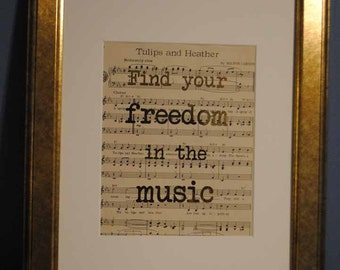 Find Your Freedom in the Music | 504 | Gold Foil Art Print | Vintage Sheet Music Wall Art | Antique Sheet Music
