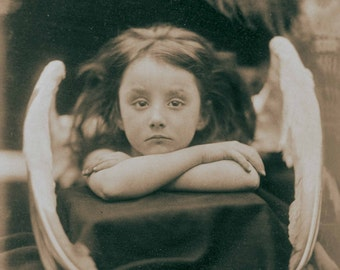 Vintage photo angel art photography print antique photograph little girl angel wings 1900s-PRINT