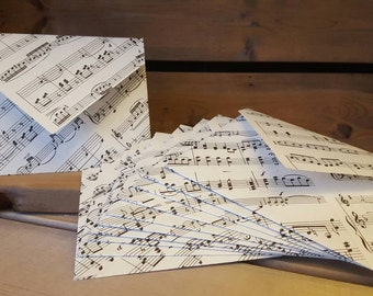 Vintage Sheet Music Envelopes with Blank Parchment Notes Sets of 5, 10, or 15