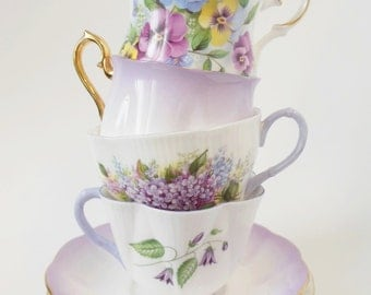 Set of 4 Mix and Match Vintage Tea Cup Set - Purple Mismatched Tea Cup Set - Wedding China - Tea Party - Gift Ideas