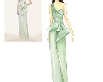 Custom Fashion Sketch Custom gift illustration Custom art Custom fashion illustration