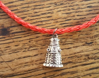 Doctor Who / Whovian inspired Dalek / robot charm pendant necklace - on red faux braided leather cord