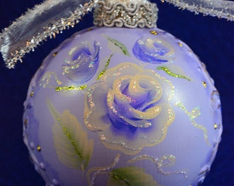 Hand Painted Christmas Ornament Rose Vintage Glass Ornament Unique Christmas Gifts Personalize Ornament Customized Ornament Holiday Ornament