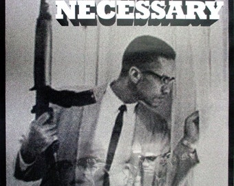 Malcolm X Poster By Any Means Necessary with Bio African American Black History