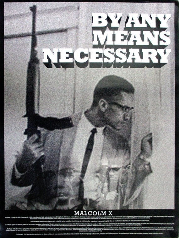 malcolm x poster by any means necessary with bio african