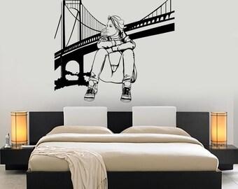 Wall Decal New York Brooklyn Bridge Sexy Girl Vinyl Sticker Art 1416dz