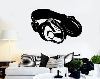 Wall Vinyl Music Headphones Head Phones Guaranteed Quality Decal Mural Art 1532dz
