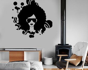 Wall Vinyl Music Black Afro American Girl Disco Guaranteed Quality Decal Mural Art 1552dz