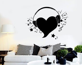 Wall Vinyl Music Hearts Headphones Notes Guaranteed Quality Decal Mural Art 1563dz