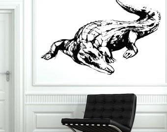 Wall Decal Animal Crocodile Alligator Tribal Cool Mural Vinyl Decal 1724dz