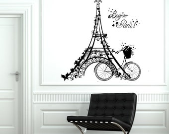 Wall Decal Paris Eiffel Tower France Bicycle Love Vinyl Decal Sticker 1812dz
