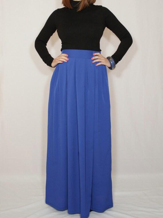cobalt blue skirt chiffon maxi skirt high waisted maxi
