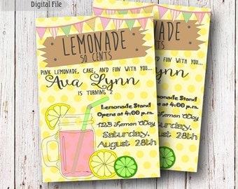 Pink Lemonade DIGITAL Invite, Rustic Lemonade Party, Lemonade First Birthday, Pink Lemonade Birthday, Lemonade Stand, DIGITAL INVITATIONS