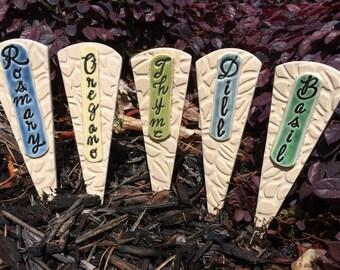 5 Ceramic Herb Garden Markers, Garden Plant Markers, Ceramic Garden Stakes, Herb Pottery Markers,Unique Garden Gift,Mothers Day Gift