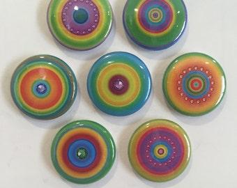 Neon Circle Magnets - set of 7