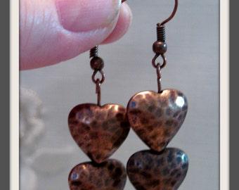 Copper Valentine Earrings, Copper Heart Dangles, Gift for Her
