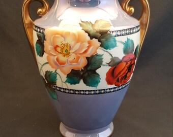 Vintage Noritake Hand Painted Vase Japan 1930s Floral Vase