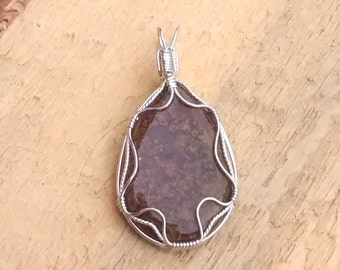 Natural Brown Jasper and Sterling Silver Pendant