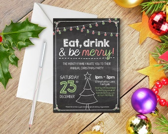 Printable Christmas Invitation - Chalkboard, Christmas Invite, Holiday Invitation - Edit and print as many copies as you like