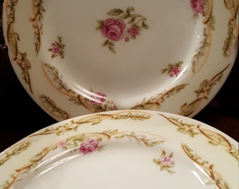 Orion Fine China Pink Rose Made in Occupied Japan Set of 5 Bread and Butter Plates