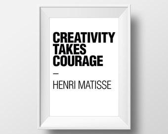 Office Art Print, Typographic Print, Creativity Takes Courage, Art Quote, Modern Quote, Minimalist Print, Office Quotes, Typography Print