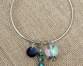 Fortune teller bangle bracelet. Gypsy inspired bangle bracelet. Iridescent bangle bracelet. Bangle