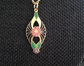 Cloisonne pendant, cloisonne pendants, vintage cloisonné jewelry, cloisonné pendants, vintage cloisonné jewelry, cloisonne pendant,  N19