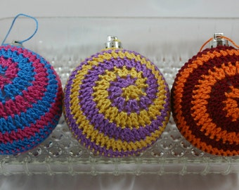 Hand Crocheted Candy Swirl Ornaments - Set of 3 - Electric