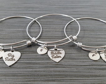 Big Sister Middle Sister Little Sister Bracelet - Sister Bangle Bracelet - Expandable Charm Bracelet Initial Bracelet - Sister Charm Bangle