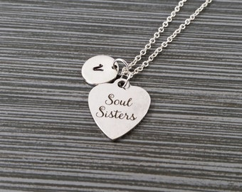 Silver Soul Sister Necklace - Soul Sister Charm Necklace - Personalized Necklace - Custom Gift - Initial Necklace - Best Friend Gift