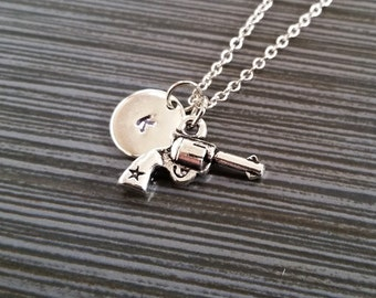 Silver Pistol Necklace - Gun Necklace - Personalized Necklace - Custom Initial Necklace - Revolver Necklace - Gun Owner Gift