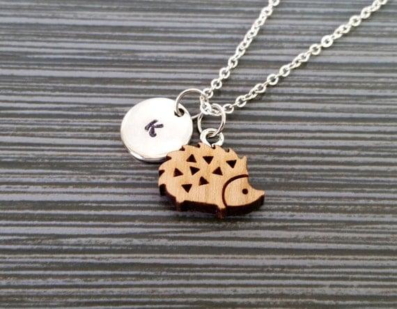 wooden hedgehog necklace hedgehog charm necklace