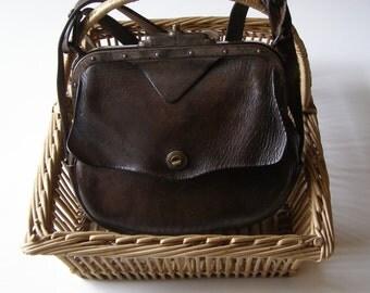 Leather vintage-postman French - business French - french vintage Bag satchel bag
