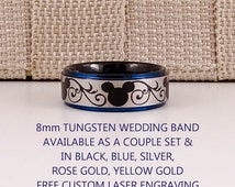 Black Tungsten Band with Blue Step Edge Mickey Mouse Design Pattern Ring - 8mm or 6mm Tungsten Ring