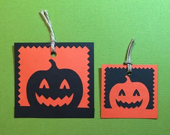 Halloween Gift Tag/ Scrapbooking Embellishment/ Die Cut. Party Tags. Gift Tags. Scrapbook Diecuts. Pumpkins. Jack o Lanterns. Party Decor.
