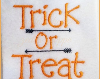 Trick or Treat Halloween Embroidery Design - Halloween - Candy -  Instant Download -  4x4