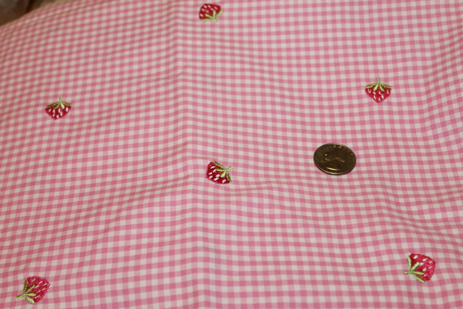 Yds pink white gingham with embroidered by mystuffedattic