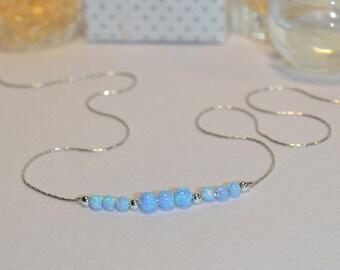 OPAL NECKLACE // Tiny Opal Necklace Silver - Blue Opal Ball Necklace - Dot Necklace - Single Bead Necklace - Opal Bead Necklace