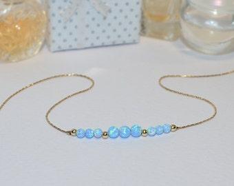 OPAL NECKLACE // Blue Opal Ball Necklace - Opal Charm Necklace - Opal Bead Necklace - Opal Dot Necklace - Everyday Opal Necklace