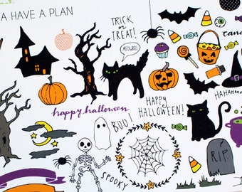 Planner Stickers Hand Drawn Halloween Variety Deco for Erin Condren, Happy Planner, Filofax, Scrapbooking