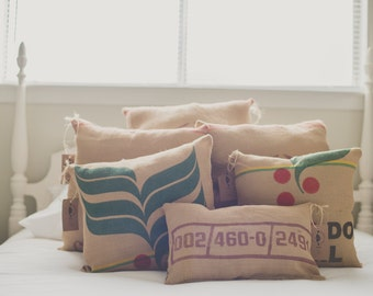Reclaimed Coffee Bean Sack Pillows