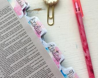Bible Tabs Laminated with Adhesive   Watercolor   Bible Journaling