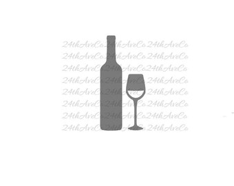 Wine .DXF .SVG  .PDF .Png, Cut File, Digital File, Silhouette Studio, Cricut, Alcohol, Spirits, Wine Bottle, Glass