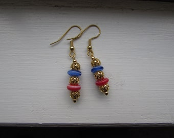 Gold, Red, and Blue earrings