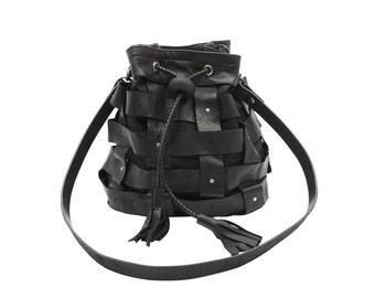 Black woven leather bucket bag// Black leather bag