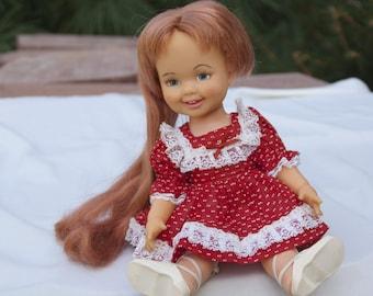 "1971 Cinnamon Vintage Doll 12"" Tall Ideal Toys, Crissy Family and Friends Velvet's Little Sister, Magic Grow Hair, Shoes Handmade Dress"