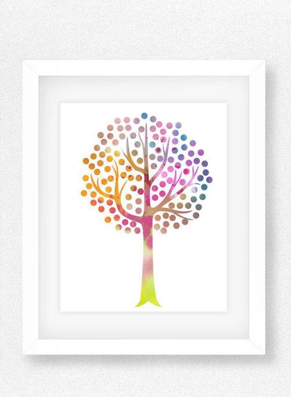 Rainbow theme nursery tree print watercolor nursery print for Rainbow themed baby nursery