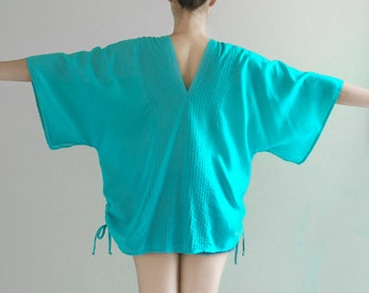 SALE 20% off, Beach Boho Summer Tunic Cotton Top, Oversized Kimono Loose Fit V Neck Top with Drawstring, Maternity Top, Turquoise