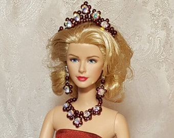 Maroon jewelry set for Silkstone Barbie and other fashion dolls